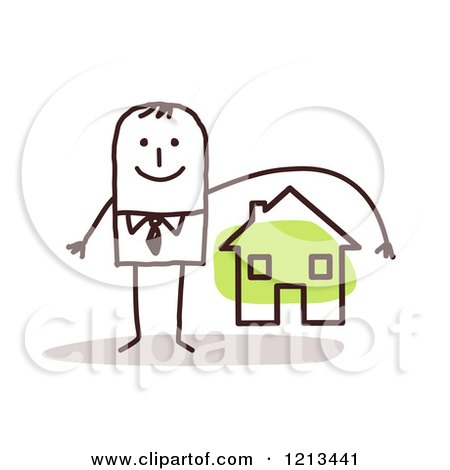 Clipart of a Stick People Man Depicting Home Owners Insurance - Royalty Free Vector Illustration by NL shop