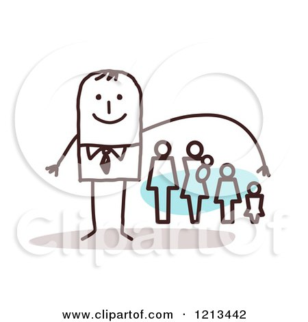 Clipart of a Stick People Man Depicting Life Insurance - Royalty Free Vector Illustration by NL shop
