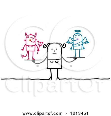 Clipart of a Stick People Woman with a Good and Bad Conscience - Royalty Free Vector Illustration by NL shop