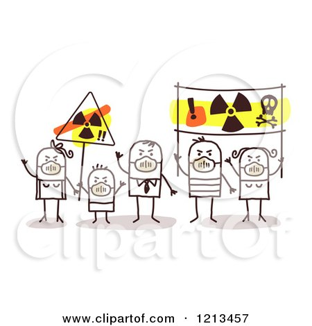 Clipart of a Stick People Family Wearing Masks and Holding Anti Nuclear Energy Signs - Royalty Free Vector Illustration by NL shop