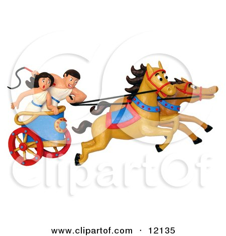 Clay Sculpture Clipart Roman Couple Racing A Chariot - Royalty Free 3d Illustration  by Amy Vangsgard