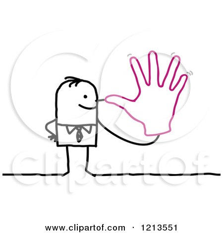 Clipart of a Stick People Business Man Holding a Hand to His Nose - Royalty Free Vector Illustration by NL shop