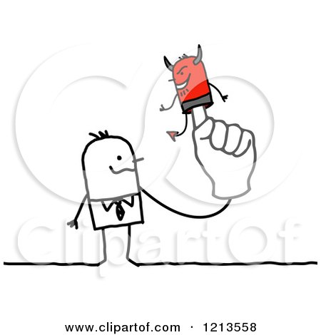 Clipart of a Stick People Business Man with a Devil Puppet on His Finger - Royalty Free Vector Illustration by NL shop