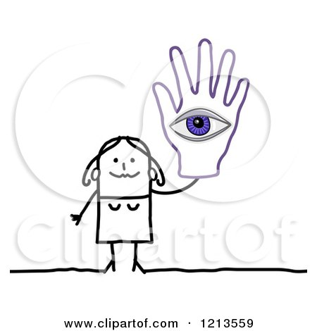 Clipart of a Stick People Woman Holding up a Hand with an Eye - Royalty Free Vector Illustration by NL shop