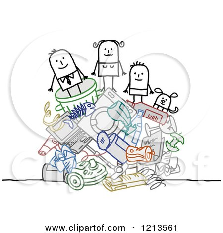 Clipart of a Stick People Family on a Pile of Garbage - Royalty Free Vector Illustration by NL shop