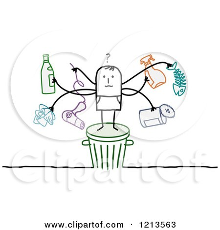 Clipart of a Stick People Man Standing on a Trash Bin with Recyclable Items - Royalty Free Vector Illustration by NL shop