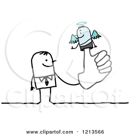 Clipart of a Stick People Business Man with an Angel Puppet on His Finger - Royalty Free Vector Illustration by NL shop