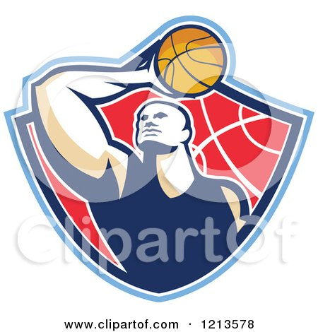 Clipart of a Retro Basketball Player Holding a Ball over His Head in a Shield - Royalty Free Vector Illustration by patrimonio