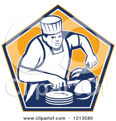 Clipart of a Retro Chef Slicing a Ham in an Orange Pentagon - Royalty Free Vector Illustration by patrimonio