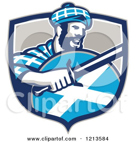 Clipart of a Scottish Highlander in a Tartan with a Sword and Shield in a Crest - Royalty Free Vector Illustration by patrimonio