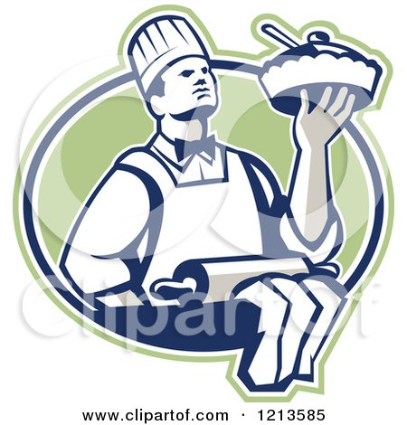 Clipart of a Retro Chef Holding a Pie over a Rolling Pin in a Green Oval - Royalty Free Vector Illustration by patrimonio