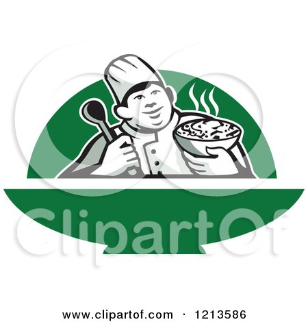 Clipart of a Retro Chef Holding a Bowl of Hot Noodle Soup over Green - Royalty Free Vector Illustration by patrimonio
