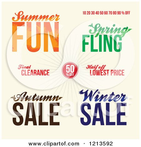 Clipart of Seasonal Sale Advertisements on Tan - Royalty Free Vector Illustration by Arena Creative