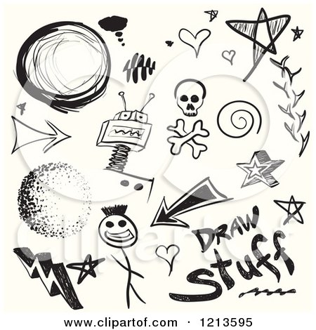 Clipart Of Black Doodle Sketches On Off White Royalty Free Vector Illustration By Arena