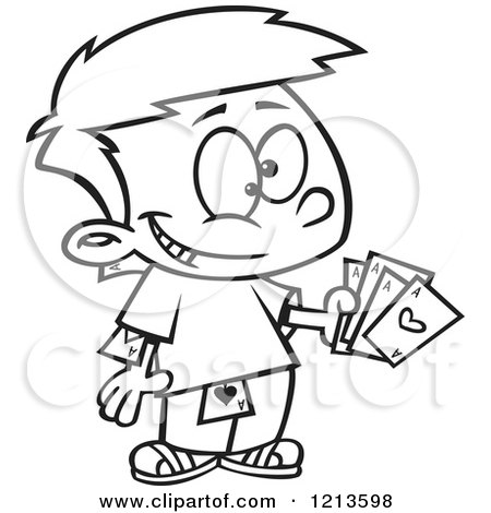 Cartoon of a Black and White Sneaky Boy Hiding and Holding Aces - Royalty Free Vector Clipart by toonaday