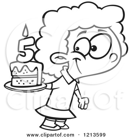 Cartoon Of A Black And White Happy Girl Holding Her Fifth Birthday