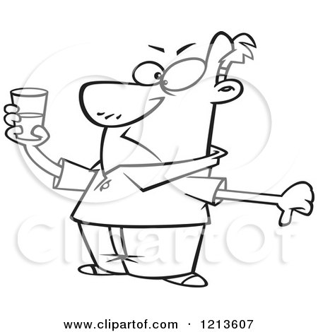 Cartoon of a Black and White Pessimistic Man Holding a Glass and Seeing It As Half Full - Royalty Free Vector Clipart by toonaday