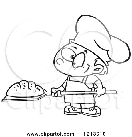 Cartoon of a Black and White Happy Baker Boy with Fresh Bread - Royalty Free Vector Clipart by toonaday