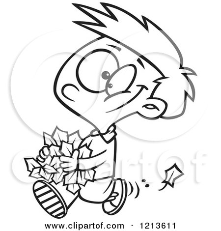 Cartoon of a Black and White Happy Boy Carrying Autumn Leaves - Royalty Free Vector Clipart by toonaday