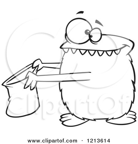 Cartoon Of A Black And White Halloween Monster Trick Or Treating Royalty Free Vector Clipart By Toonaday 1213614