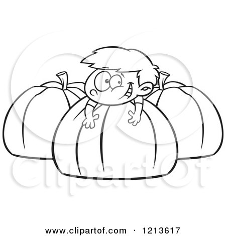 Cartoon of a Black and White Happy Boy Resting on a Large Pumpkin - Royalty Free Vector Clipart by toonaday