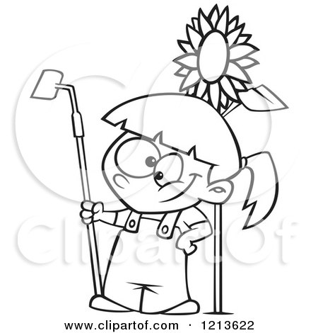Cartoon of a Black and White Happy Girl Standing with a Gardening Hoe by a Sunflower - Royalty Free Vector Clipart by toonaday