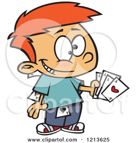 Cartoon of a Sneaky Caucasian Boy Hiding and Holding Aces - Royalty Free Vector Clipart by toonaday