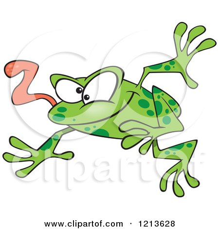 Cartoon of a Leaping Green Frog with His Tongue Hanging out - Royalty Free Vector Clipart by toonaday