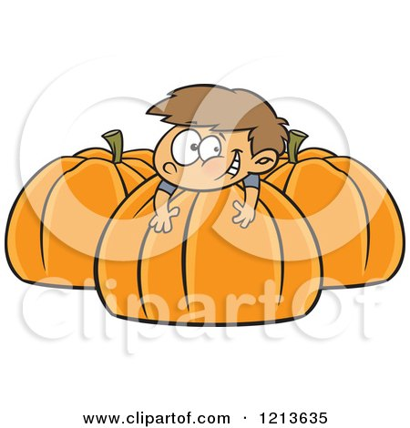 Cartoon of a Happy Caucasian Boy Resting on a Large Pumpkin - Royalty Free Vector Clipart by toonaday