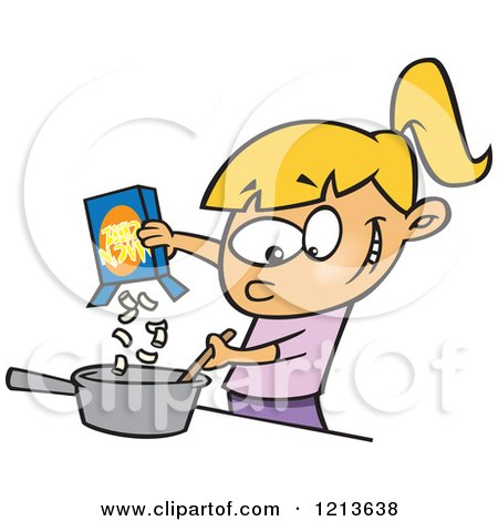 Cartoon of a Caucasian Girl Making Macaroni and Cheese - Royalty Free Vector Clipart by toonaday