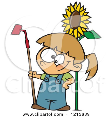 Cartoon of a Happy Caucasian Girl Standing with a Gardening Hoe by a Sunflower - Royalty Free Vector Clipart by toonaday