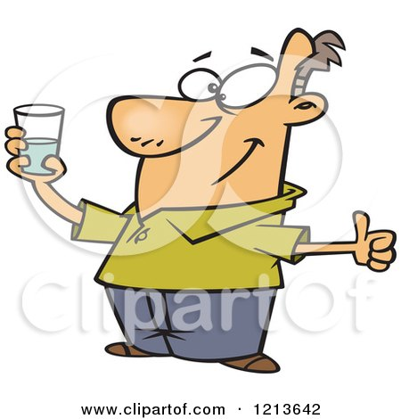 Cartoon of an Optimistic Man Holding a Glass and Seeing It As Half Full - Royalty Free Vector Clipart by toonaday