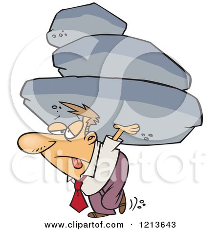 Cartoon of a Exhausted Businessman Carrying the Burden of a Heavy Boulder Load - Royalty Free Vector Clipart by toonaday