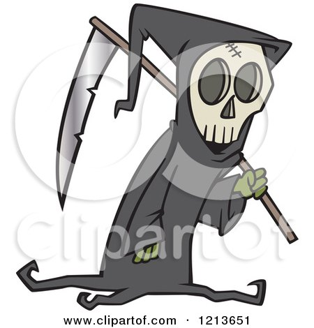 Cartoon of a Grim Reaper Carrying a Scythe over His Shoulder - Royalty Free Vector Clipart by toonaday