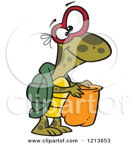 Cartoon of a Halloween Turtle Trick or Treating - Royalty Free Vector Clipart by toonaday