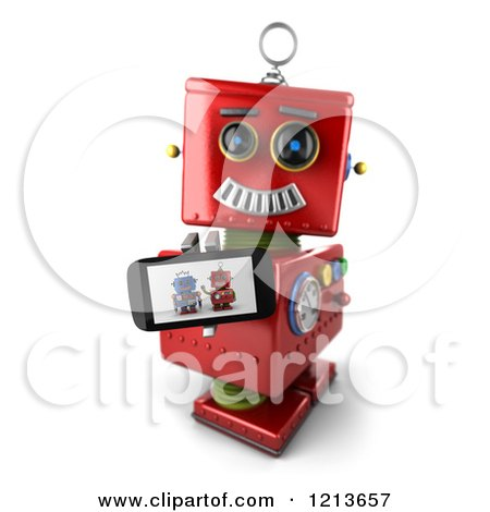 Clipart of a 3d Red Vintage Robot Holding up a Smart Phone with a Picture on the Screen - Royalty Free CGI Illustration by stockillustrations
