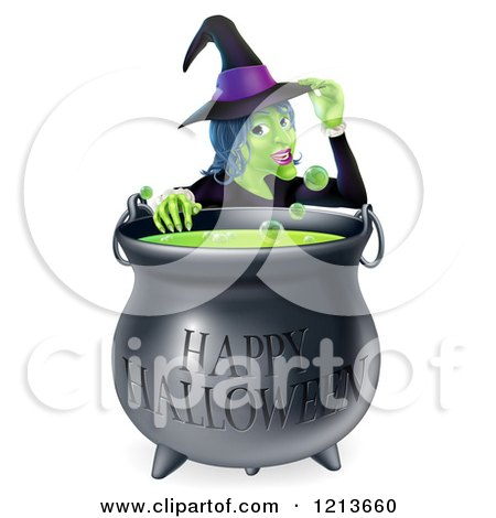 Cartoon of a Witch Touching Her Hat from Behind a Boiling Happy Halloween Cauldron - Royalty Free Vector Clipart by AtStockIllustration
