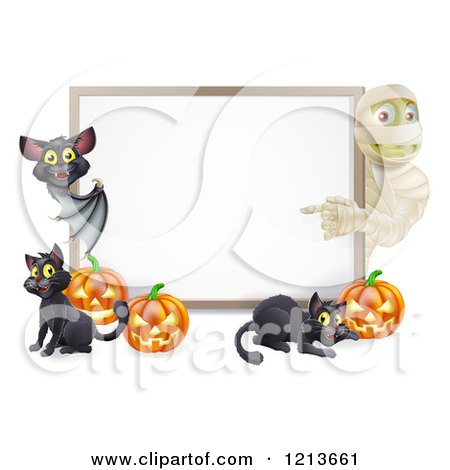 Cartoon of a Halloween Mummy and Bat Pointing to a White Board Sign with Pumpkins and Black Cats - Royalty Free Vector Clipart by AtStockIllustration
