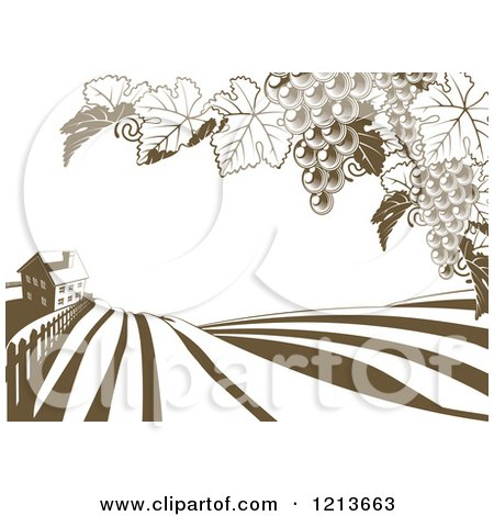 Clipart of a Farm House and Rolling Hills with Winery Grape Vines in Brown and White - Royalty Free Vector Illustration by AtStockIllustration