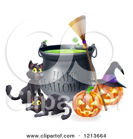 Cartoon of a Happy Halloween Cauldron with Black Cats a Broomstick and Jackolanterns - Royalty Free Vector Clipart by AtStockIllustration