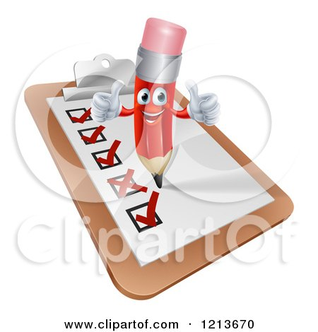 Cartoon of a Happy Red Pencil Mascot Holding Two Thumb up on a Check List Clipboard - Royalty Free Vector Clipart by AtStockIllustration