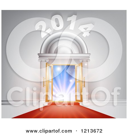 Clipart of a Red Carpet Leading to an Ornate 2014 Arch of Open Doors and Bright Lights - Royalty Free Vector Illustration by AtStockIllustration