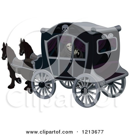 Clipart of a Grim Reaper in a Dark Horse Drawn Carriage - Royalty Free Vector Illustration by Pushkin