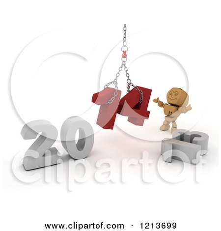 Clipart of a 3d Box Boy Assembling New Year 2014 Numbers Together with a Hoist - Royalty Free CGI Illustration by KJ Pargeter
