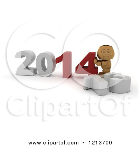 Clipart of a 3d Box Boy Pushing New Year 2014 Numbers Together by a Knocked down 13 - Royalty Free CGI Illustration by KJ Pargeter