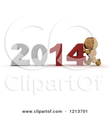 Clipart of a 3d Box Boy Pushing New Year 2014 Numbers Together - Royalty Free CGI Illustration by KJ Pargeter