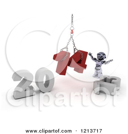 Clipart of a 3d Robot Assembling New Year 2014 with a Hoist - Royalty Free CGI Illustration by KJ Pargeter