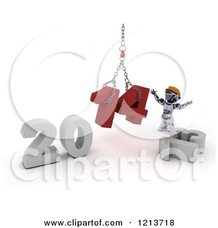 Clipart of a 3d Construction Robot Assembling New Year 2014 with a Hoist - Royalty Free CGI Illustration by KJ Pargeter