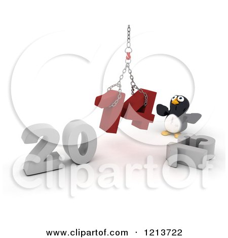 Clipart of a 3d Penguin Assembling New Year 2014 with a Hoist - Royalty Free CGI Illustration by KJ Pargeter