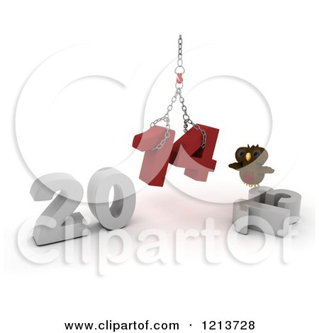 Clipart of a 3d Owl Assembling New Year 2014 with a Hoist - Royalty Free CGI Illustration by KJ Pargeter